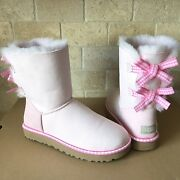 Ugg Bailey Bow Gingham Ribbon Pink Suede Classic Short Boots Size 7 Womens