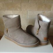 Ugg Lux Kip Clay Suede Shearling Zip Ankle Mini Boots Size Us 7 Womens
