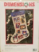 Dimensions Counted Cross Stitch Christmas Holiday Stamps Stocking Kit New Rare