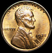 1925-d Lincoln Cent Wheat Penny --- Pcgs Ms-64 Rb Gem Bu+ --- 156