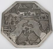 Huge Becenti Family Cooperation Navajo Sterling Silver Storyteller Horse Plate