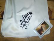 Victorian Trading Co Heirloom O Monogrammed White Silk Scarf