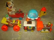 4 Fisher Price Pull Toy 773 Tip Toe Turtle Jalopy 724 Merry Mutt 473 Chug 168
