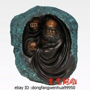 China Buddhism Bronze Copper Painted Fane Damour Monk Bodhidharma Dharma Statue