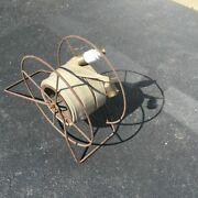 Antique Firehose And Firefighting Reel Metal Galvanized Drum Male And Female Ends