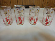 Mid Century Federal Glass Red Gold Rooster Tumblers Glasses Vintage Chicken