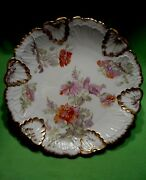 Antique Limoges 13.5 Round Platter W/ Raised Relief Designs And Colorful Flowers.
