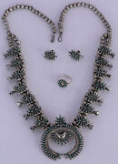 Old Zuni Sterling Needlepoint Turquoise Squash Blossom Necklace Earring Ring Set