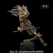 24 Abstract Art Sculpture Bronze Copper Marble Playing A Violin Statue Figurine