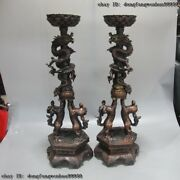 24 China Royal Palace Copper Bronze Dragon Lamps Candlestick Candleholder Statue