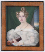 Anton Weissenfeld Young Lady In White Dress, Fine Miniature, 1830s