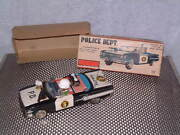 Vintage Ichiko Tin Friction Driven Police Car W/rotating Gun And Siren. With Box