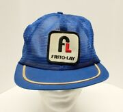 Vintage Frito Lay 70s 80s All Mesh Trucker Hat Cap Snapback Patch Made Usa Blue