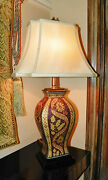 Hand Painted Porcelain Urn Style 27 Table Lamp W/linen Shade