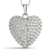New 14k White Gold Diamond Studded Heart Love Pendant Necklace Jewelry 1ct.