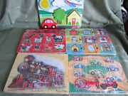 4 Melissa And Doug Wood Puzzle Lot Farm Animals Sound Hide And Seek Train Sound