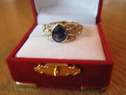 Sale Gorgeous 2ct+ Sapphire Marquise Diamond Ring 18k Yellow Gold Excellent Cond