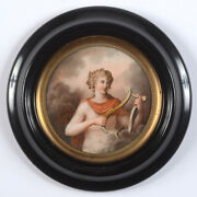 Portrait Of A Young Man As Apollo Fine French Miniature Ca. 1800