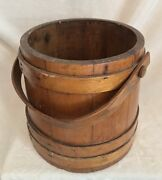 """Antique 1900's French Large Handled Wooden Bucket, 10"""" Diameter"""