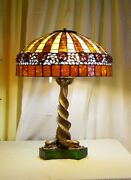 Authentichandmade Leaded Shade With Raised Pink Roses By Northeastern Lamp Co. .