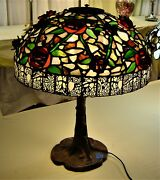Authentic Northeastern Lamp Co. Handmade Leaded Shade With Raised Red Roses .