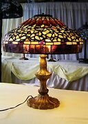 Authentic Northeastern Lamp And Bronze Co Lamp W. Leaded Glass Shade Circa 1980