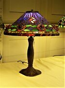 Authentic Leaded Glass Shade By Northeastern Lamp Co. With Raised Red Roses .