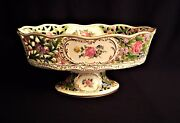 Dresden Flowers Footed Oval Reticulated Bowl Hand Painted Artist Signed