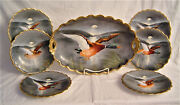 Game Set Platter And Six Plates All Hand Painted And Artist Signed Circa 1900