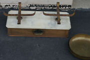Antique Marble Top Gold Scale Lots Of Weights Antique Scale Gold Rush Scale