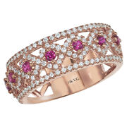 New Ladies 14k Rose Gold Diamond And Ruby Vintage Design Cigar Band Ring