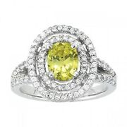 New Ladies 14k White Gold Diamond And Yellow Topaz Oval Cut Double Halo Ring