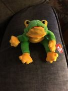 Ty Beanie Baby Smoochy The Frog Retired 1997 Tag Errors Great Price - Look