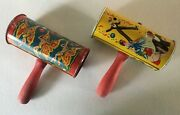 2 Kirchhof Noisemaker S Butterfly Dancers New Years Party Usa Tin Litho Rattle