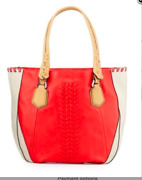New Oryany Lyssie Soft Pebbled Leather Color-block Tote Berry Red Mushroom Stone
