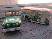 Vtg 1960's Tin Litho Friction Powered Us Army Jeep And Original Box Yone Japan Nm