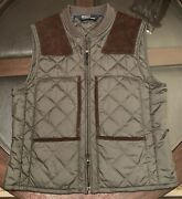 Gentandrsquos Size Medium Hunter Quilted Vest Leather Accents Olive Green