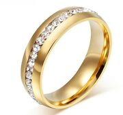 Lover's Eternity Ring 18 Kt Gold/12 Kt Wht Gold Gp With .75 Ct Tw Aaa Swiss Czs