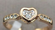 18 Kt Gp Heart Of Gold Ring W/0.5 Ct Main + 8 Accent Aaa Swiss Czs Free Ship