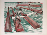 Alfredo Zalce Signed 1946 Original Color Lithograph Lumber Workers - Aaa