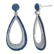 New 14k White Gold Diamond And Blue Sapphire Pave Set Tear Drop Dangling Earrings