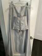 Bcbg Max Azria Silver Two Piece Long Formal Gown Dress And Corset Top Size 4