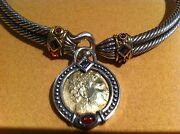 Great Early Barry Kronen Silver,14k,necklace And Coin Pendant, Double Cable