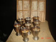 8 Estate 950 Better Sterling Silver Cordial Cups + Box 170g Approx Total Weight