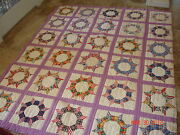 Antique Or Vintage Texas Estate Quilt Castle Wall Pattern Star Purple Red