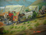 Estate Texas Artist Dobbs Oil Painting Covered Wagons Settlers Pioneers