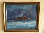 Estate West Texas Artist Night Winter Landscape Oil Painting Ginger Brown 16x20
