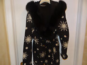 Designer Louis Feraud Black And White Fur Jacket Filed With Down,very Warm