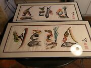 Pair Of Awesome Large Antique Chinese Water Color On Rice Paper