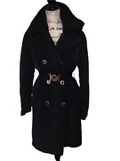 New Auth Versace Goose Down Black And Gold Military Women Coat Eur 42 Us 8